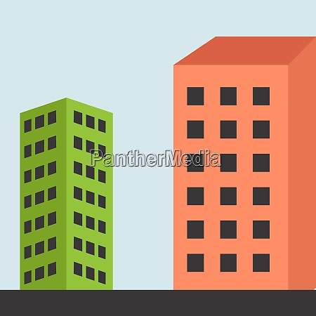 two buildings illustration vector on white