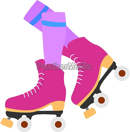 pink roller skates illustration vector on