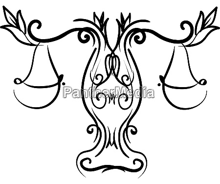 decorative libra illustration vector on white