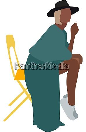 girl in green illustration vector on