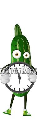 cucumber holding clock illustration vector on