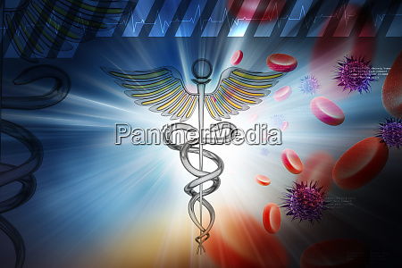 medical symbol with blood cells and