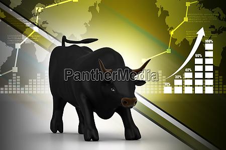 rising black business bull in color