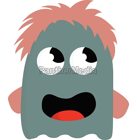 blue monster with hair vector or