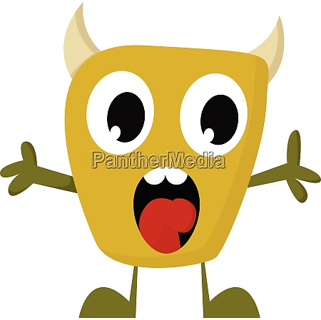 a yellow monster screaming vector or