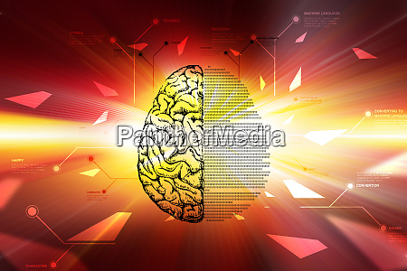 technical brain in color background