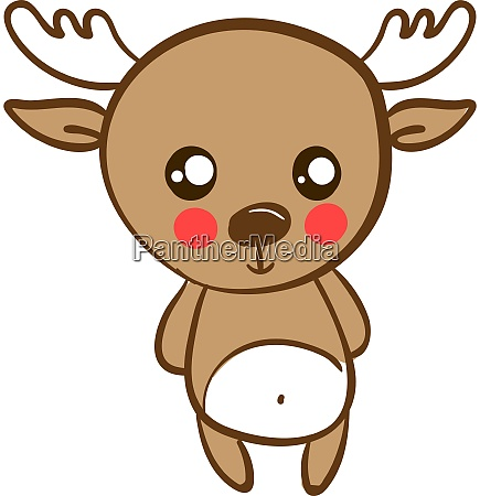 cute little deer illustration vector on