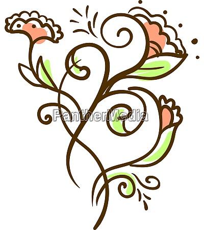 decorative flower illustration vector on white
