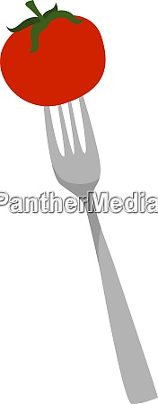 fork with tomato illustration vector on