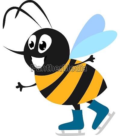 bee skating illustration vector on white