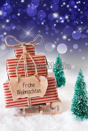 sled present snow frohe weihnachten means