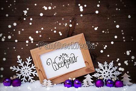 frame purple ball tree snow snowflakes