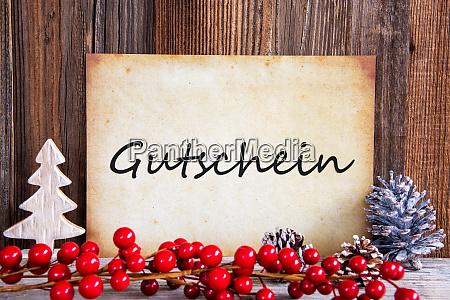 christmas decoration paper with text gutschein