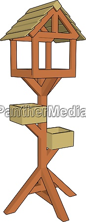 wooden bird house illustration vector on