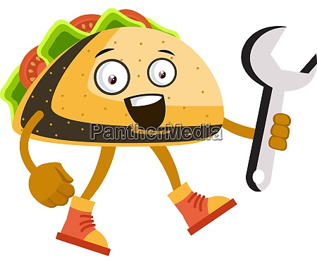 taco with big wrench illustration vector