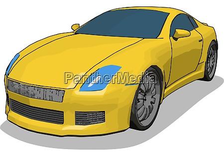 yellow luxury car illustration vector on