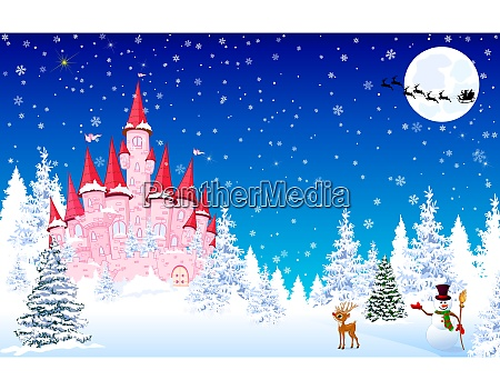 pink castle snow forest night christmas