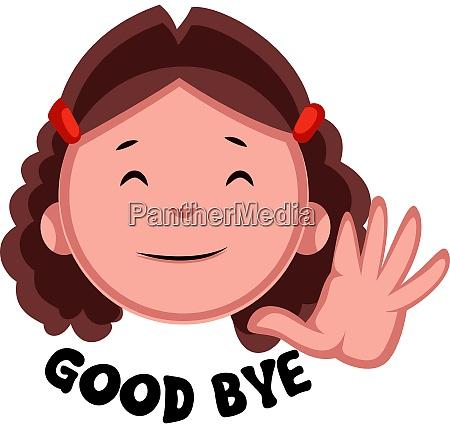 girl saying good bye illustration vector