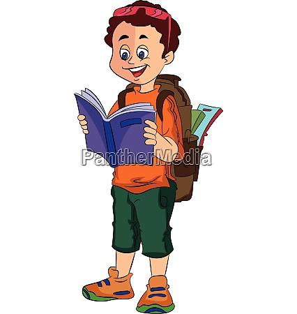 boy traveller illustration