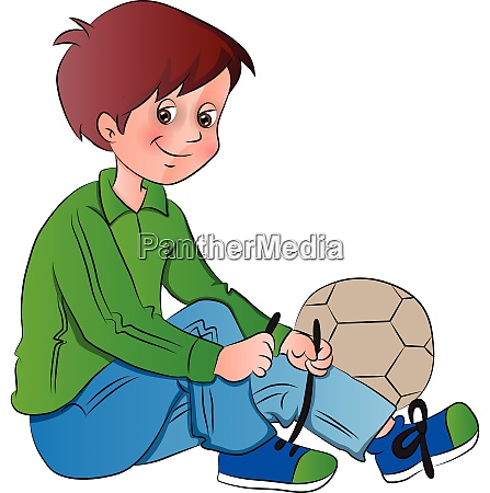vector of boy tying shoelace