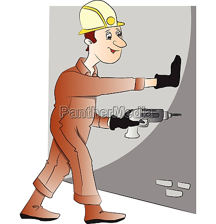 vector of man drilling the wall