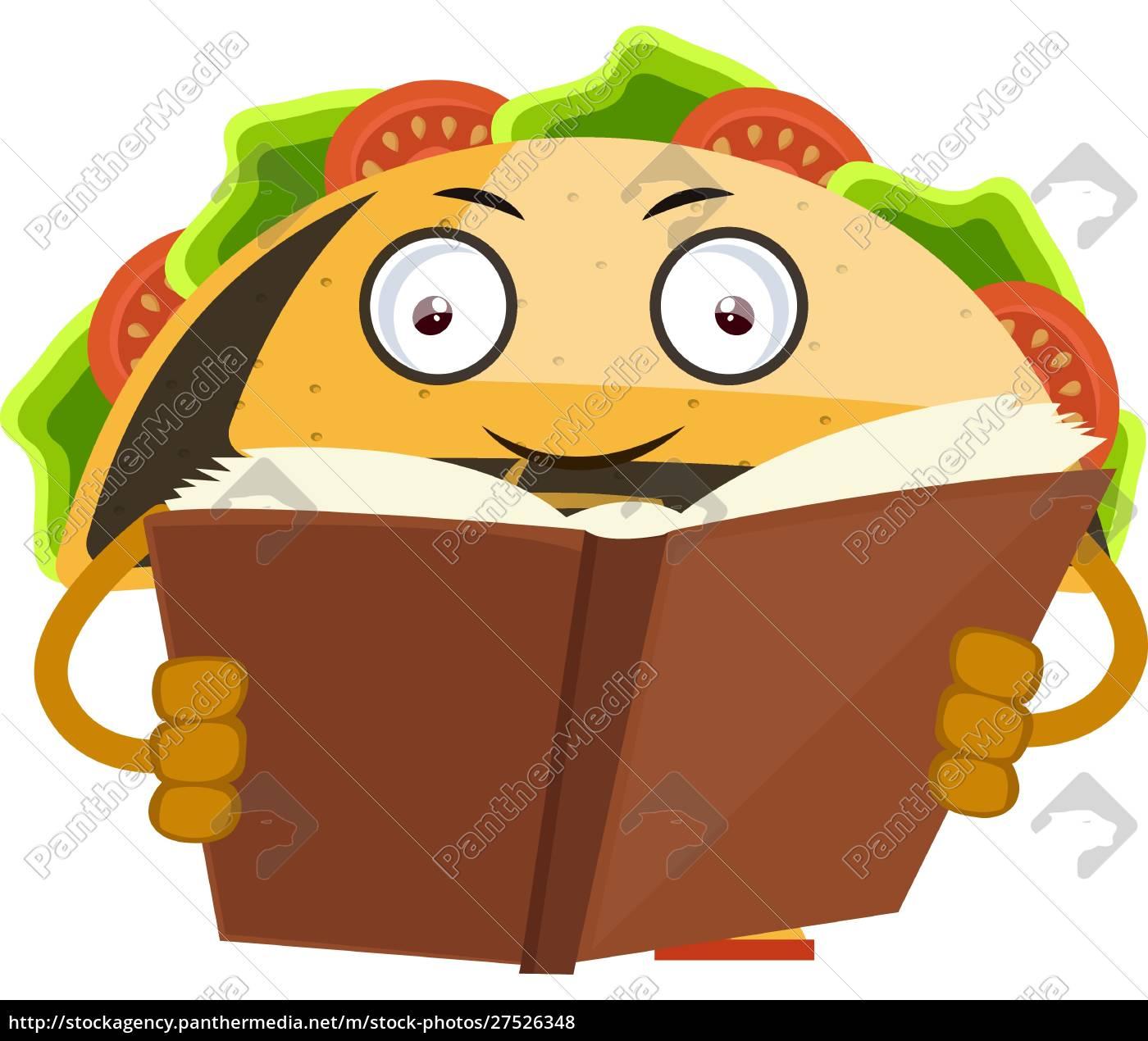 taco, reading, book, , illustration, , vector, on - 27526348