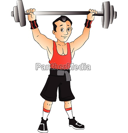 vector of man doing weightlifting
