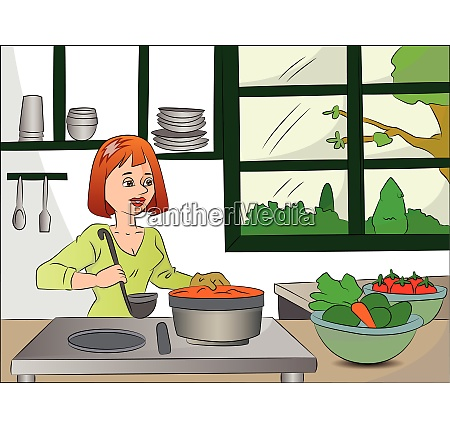 vector of woman cooking food
