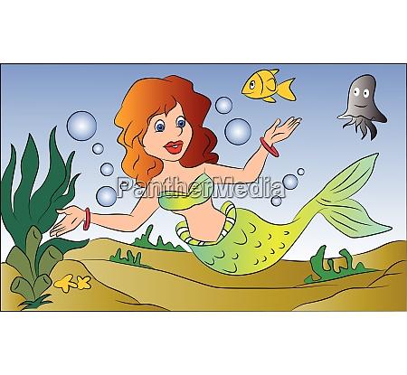 vector of mermaid swimming underwater