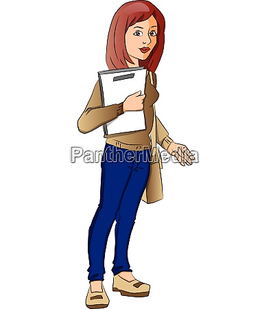 vector of female student carrying a