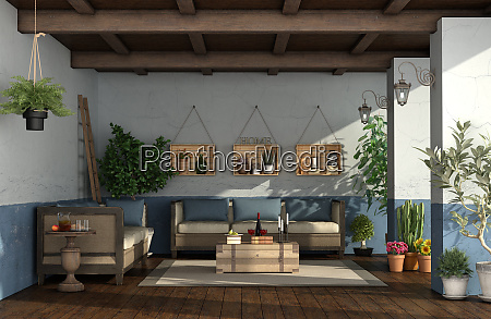 porch in mediterranean style with vintage
