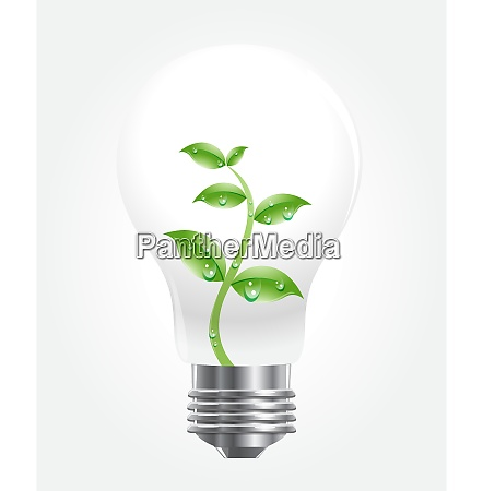 vector of light bulb with green