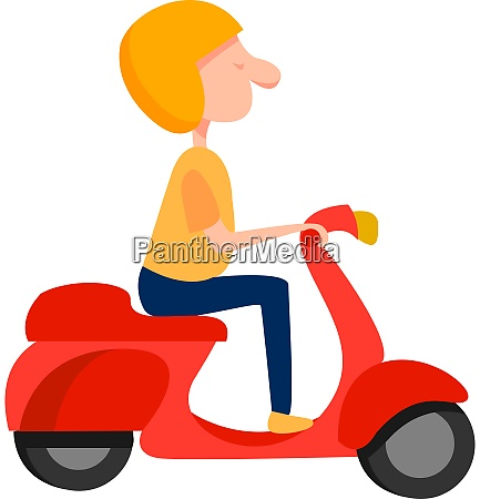 man on a moped illustration vector