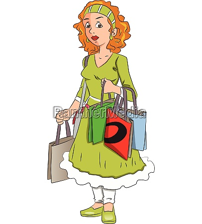 vector, of, woman, carrying, shopping, bags. - 27527090