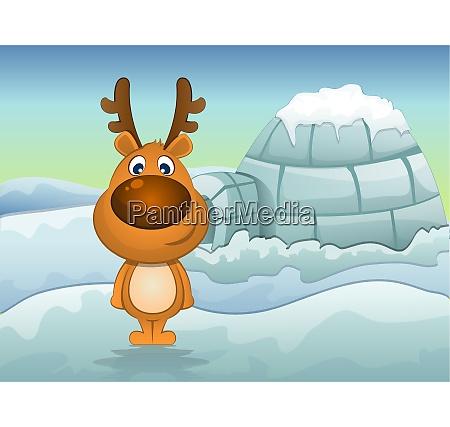 reindeer in winter illustration