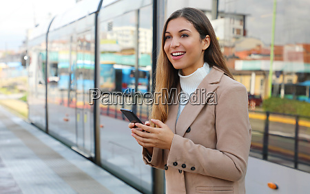 city transport happy beautiful woman holding