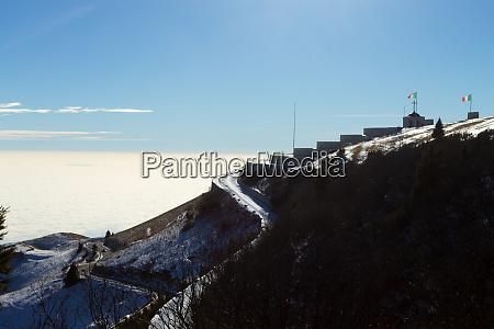monte grappa war memorial winter view