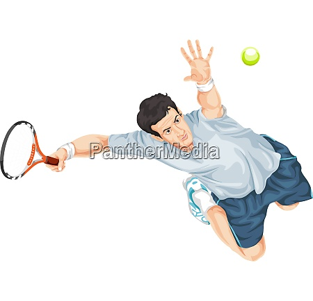 vector of tennis player in action