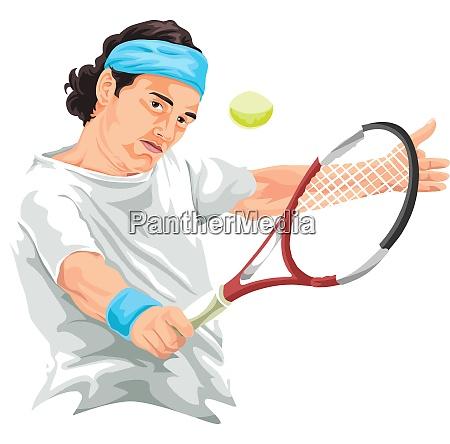 vector of tennis player hitting backhand