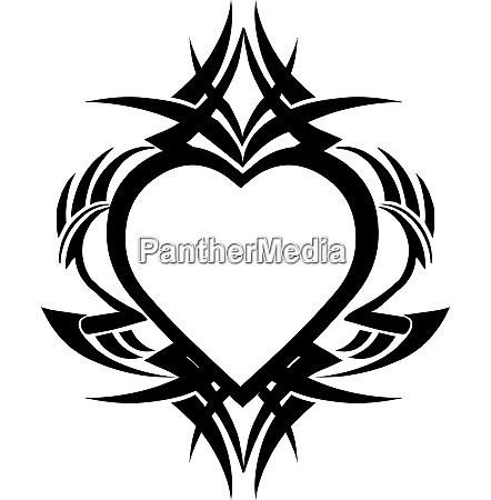 heart shape tattoo design vintage engraving