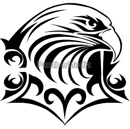 eagle head tattoo design vintage engraving