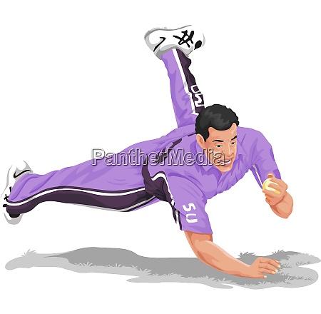 vector of cricket fielder taking catch