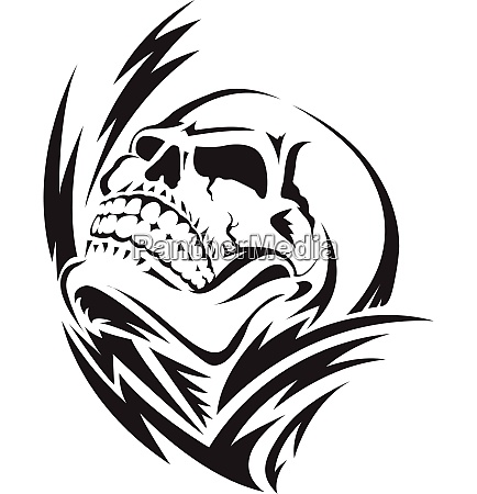 human skull tattoo vintage engraving