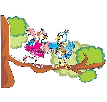 bird couple in love illustration
