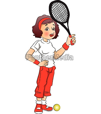 vector illustration of female tennis player