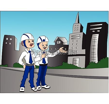 vector of building contractors talking