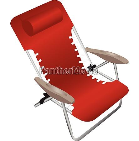 red folding aluminium armchair with a
