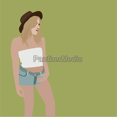 girl with hat illustration vector on