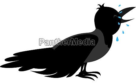 sad crow illustration vector on white