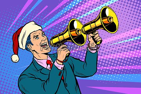 christmas sale businessman advertises with megaphone